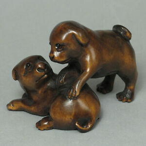 19th Japanese Handmade Boxwood Wood Netsuke Two Dogs Figurine Carving 04