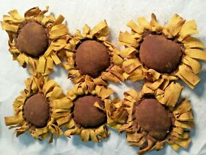 Primitive Bowl Fillers Handmade Ornies Yellow Sunflowers Grunged