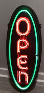 Vintage Neon Open Store Sign Vertical Green Border
