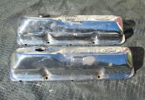 Really Oem Powered By Ford 390gt 428 Cobra Jet Mustang Chrome Valve Covers 427