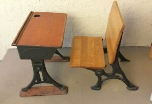 Antique Child S School Iron Wood Desk Eclipse By Heywood Chair By Simplex