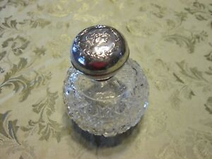 Antique English Sterling Silver Crystal Perfume Scent Bottle Henry Matthews