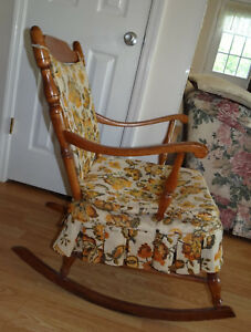 Antique Wooden Rocking Chair Medium Wood Color Orange And Brown Cushions