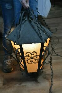 Vintage Gothic Church Torchiere Floor Swag Lamp Wrought Iron Light Spanish Tudor