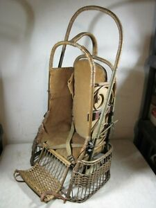 Antique Wicker Rattan Oriole Go Basket Baby Stroller Carrier Withrow Mfg Usa