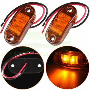 2x 2 5 Clearance Amber Oval Led Lamp 2 Diode Trailer Truck Side Marker Light