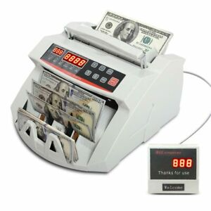 Money Bill Cash Counter Counting Machine Bank Detector Currency Auto Counterfeit