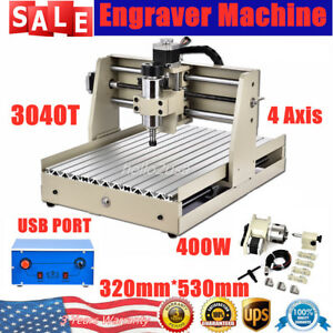 4 Axis 3040 Router Pcb Wood Milling Engraving Drill Machine Cutter 400w Usb Port
