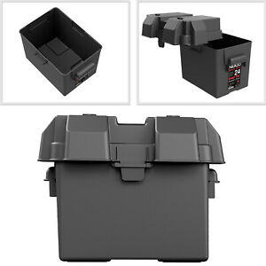 Snap Top Battery Box Automotive Marine Rv Plastic Storage Container Group Black