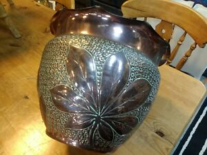 Fabulous Large Art Nouveau Decorative Copper Planter Jardiniere