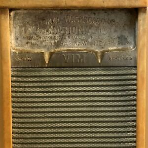 Vtg National Washboard Antique 183 Patented 1915 Wood Metal Farmhouse Laundry Rm
