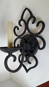 Sale Dark Bronze Wall Iron Scroll Sconce 1 Bulb With Shade Electric