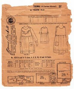 Vintage Sewing Pattern 1920s Mccall 9210 Girl S Dress Size 4 Years 23 Breast
