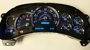 7b 05 06 2005 2006 Platinum Black Silverado Blue Led Whole Replacement Cluster