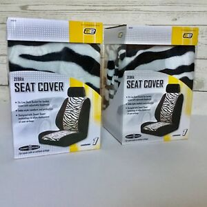 Zebra Pattern Front Car Seat Cover Black Low Back Bucket Lot Of 2