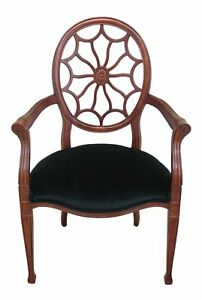 F46939ec Fairfield Federal Style Web Back Design Open Arm Chair