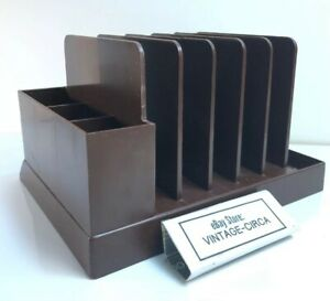 Vintage Max Klein Desk Organizer Mcm Retro Office Mail Pencil Pen Letter Holder