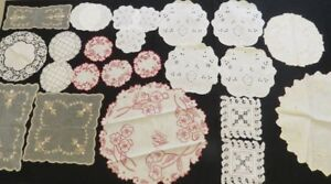 Antique Doilies Doily Coasters Lot Embroidered Vintage Linens 24 Pc Cutwork