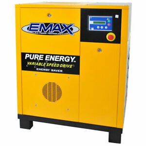 EMAX 7.5-HP Tankless Rotary Screw Air Compressor with Variable Speed Drive (2...