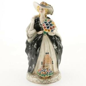 Vintage Italian Hand Painted Porcelain Figurine Woman With Bouquet 16