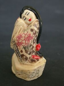 Japanese Ivory Colored Bone Netsuke A Genji Noble Geisha Lady