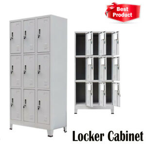 Locker Cabinet Room 9 Compartments Steel Storage Gym Metal School Tool Doors Us