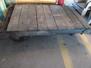 Antique Steampunk Industrial Railroad Train Cart Dolly Wood Cast Iron