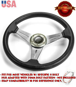 13 5 Pvc W 3 Gunmetal Spokes Steering Wheel Horn Button For Vw Porsche Audi