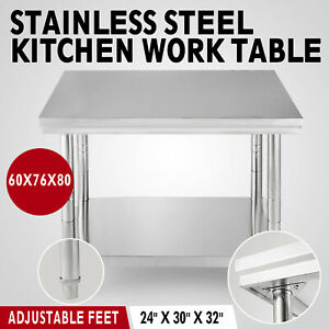 24x30 Stainless Steel Work Table Storage Shelf Bench Nsf Business High Quality