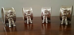 Set Of 4 Vintage Silver Plated Cherub Napkin Ring Set