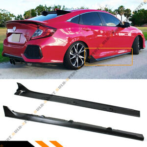 For 2016 19 Honda Civic 4dr Sedan Lx Ex Si Blk Type r Style Side Skirt Extension