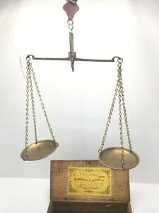 Antique Brass Hanging Balance Scale In Box With Weights