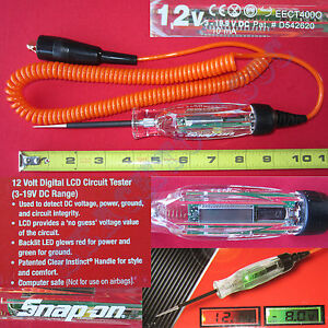 New Snap On Orange Cable Digital Lcd Circuit 12 Volt Test Light Eect400o Tester