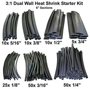 3 1 Heat Shrink Tubing Adhesive Dual Wall Starter Kit 160 Pieces 6 Sections