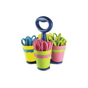 School Scissors Caddy W 24 Pairs Of Kids Scissors W microban 5 Pointed