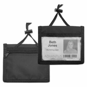 Id Badge Holder W convention Neck Pouch Horizontal 4 X 2 1 4 Black 12 pack