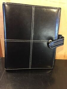 Franklin Covey classic Genuine Black Leather Planner Binder 1 5 Rings