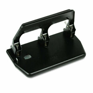 40 sheet Heavy duty Three hole Punch 9 32 Holes Gel Pad Handle Black