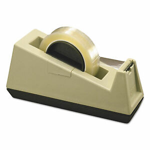 Heavy duty Weighted Desktop Tape Dispenser 3 Core Plastic Putty brown
