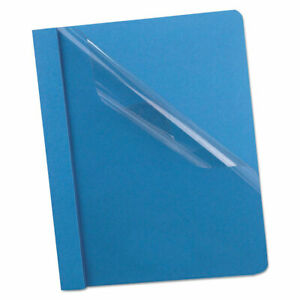 Premium Paper Clear Front Cover 3 Fasteners Letter Light Blue 25 box