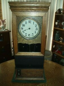 Antique Time Recorder Clock Time Punch Mechanism Nice Antique Wood Cabinet
