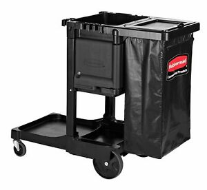 Executive Janitorial Cleaning Cart 12 1 X 22 4 X 23 Black