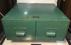 Antique Vintage 1918 General Firproofing Green Metal Drawer File Card Cabinet