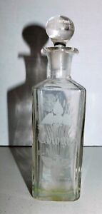Antique Etched Large Glass Perfume Cologne Bottle With Glass Stopper 8 1 4