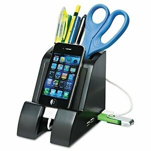 Smart Charge Pencil Cup With Usb Charging Hub Black