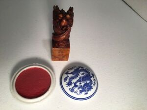 Chinese Carved Soapstone Wax Seal Stamp Kit Silk Box Ink Dish Gabriel Vintage