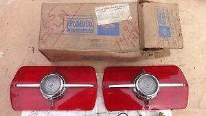 Nos 1965 Ford Fairlane Back Up Lamp Kit Original Fomoco Pair Tail Light Lenses