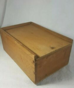 Vintage Antique Wooden Dovetail Box With Sliding Lid Jewelry Storage 8 5 5 5