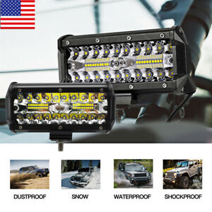7 Inch 400w Cree Combo Led Work Light Bar Flood Driving Offroad Tractor 4wd Suv