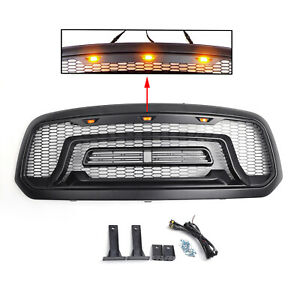 Grille Grill For Dodge Ram 1500 2013 2018 2017 Abs Bumper Mesh Rebel Style Blk